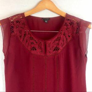 EUC/NWOT? Ann Taylor Burgundy/Lace Embellished Top